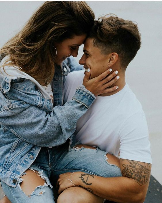 Couple wearing a White and Denim combo for their photoshoot